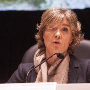 Isabel García Tejerina, ministra de Agricultura de España, durante la feria Conxemar de 2015, en Vigo. Foto: Ministerio de Agricultura de España.