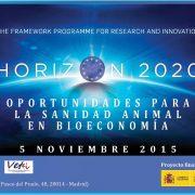 Cartel anunciador de la jornada Horizon 2020 de oportunidades para la sanidad animal en bioeconomía, organizado por la Plataforma Vet+i. Imagen: Plataforma Vet+i.
