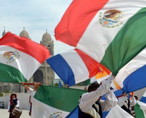 Imagen de banderas latinoamericanas y europeas, con ocasión de la visita del presidente mexicano, Enrique Peña Niego, a Europa en julio de 2015. Imagen: Gobierno de México.