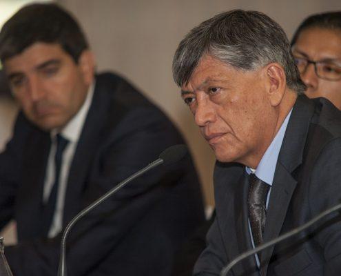 Rafael de Tomás, director internacional de Agritecno, José Luis Cabascango, jefe de la oficina comercial Pro Ecuador, y Miguel Calahorrano, embajador de Ecuador en España. Foto: Expansión.