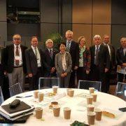 Parte de los participantes de la mesa redonda de alto nivel organizada por el IICA y el CIFOR, donde se dialogó sobre los desafíos que tienen los países de adaptación y mitigación del cambio climático. Imagen: IICA