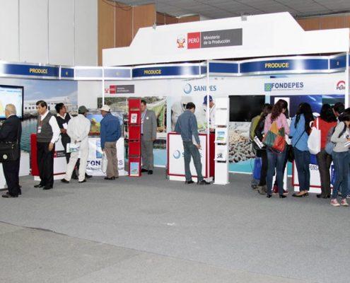 Estand del Ministerio de la Producción de Perú en la feria Expopesca de Lima. Imagen: Expopesca