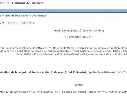 Imagen de la sentencia del Tribunal de la UE que anula el acuerdo agrícola con Marruecos.